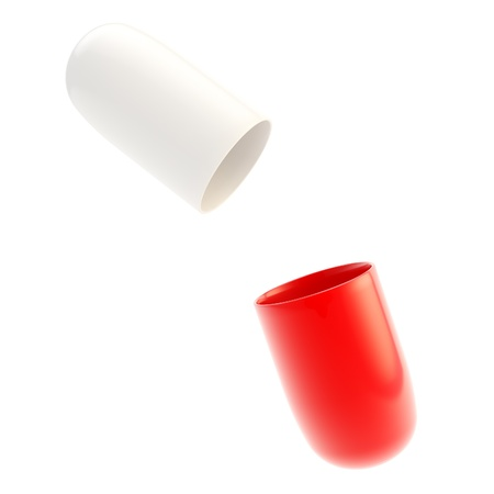 Copyspace medicine capsule pill case opened in two glossy halfs red and white isolated Standard-Bild