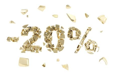 Minus twenty percent discount emblem composition made of broken into golden pieces metallic symbols isolated photo