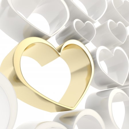 Shiny golden heart among white ones as festive valentine photo