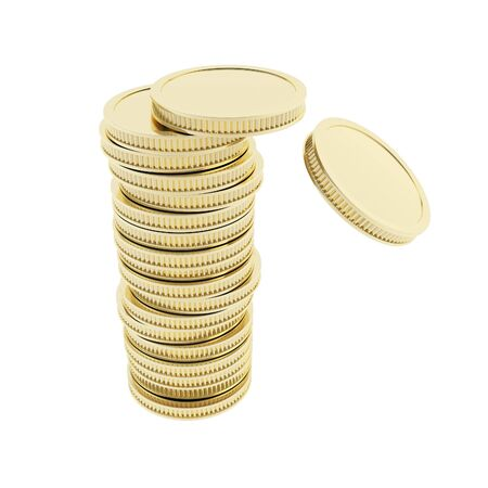 Crushing stack of shiny glossy golden coins isolated on white photo