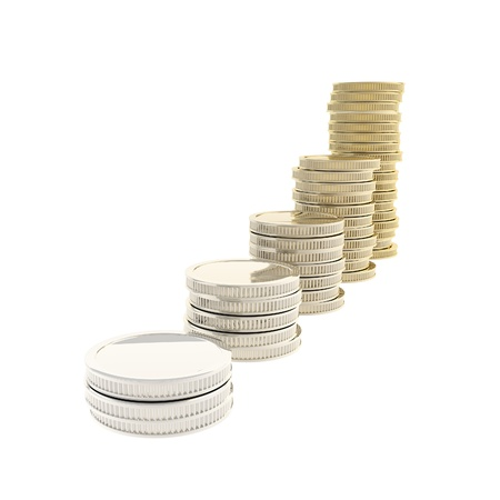 Golden metal market growth metaphor as coin stacks transforming from chrome metal to gold isolated on white photo