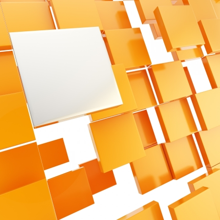 Abstract background chaotic orange glossy plate compositon with chrome copyspace square above Stock Photo - 15100957