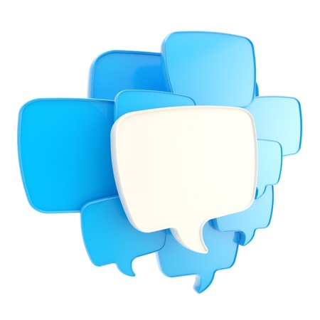 Cloud group of speech text bubbles blue composition as copyspace banner plate isolated on white photo