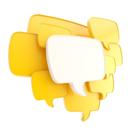 Cloud group of yellow speech text bubbles composition as copyspace banner plate isolated on white photo