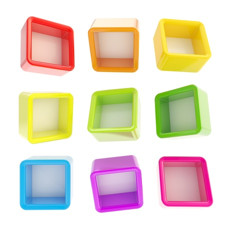 Copyspace cube square rainbow colored shelf boxes in nine foreshortenings isolated on white Stock Photo - 15100686