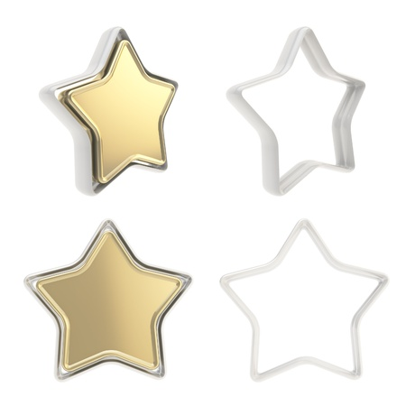 Template copyspace icon emblems for star rate voting rating isolated on white background Stock Photo - 15100563