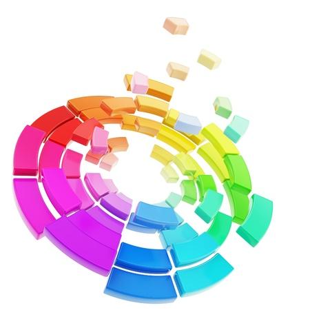サークル スペクトル パレット崩壊粉々 カオスの抽象的な背景として白で隔離されるラウンドのセグメント化された色の範囲 写真素材