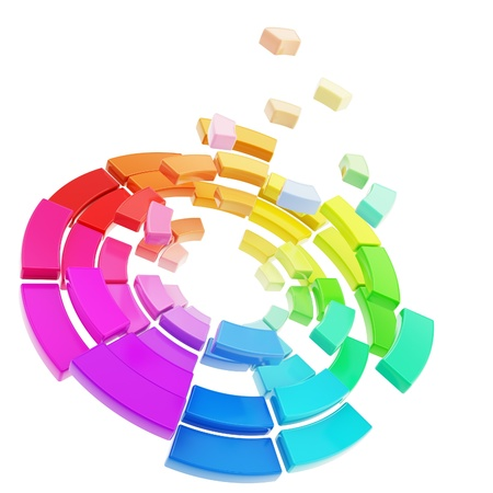 3d rainbow: Segmented color range round circle spectrum palette decay into pieces isolated on white as chaotic abstract background Stock Photo