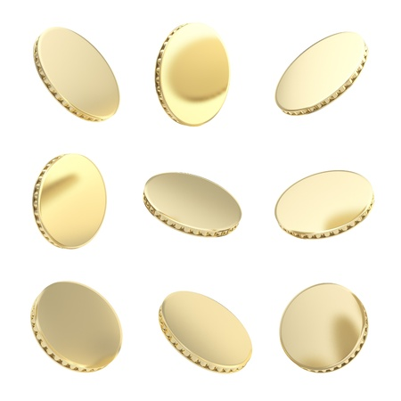 Glossy golden coins in nine foreshortening variations isolated on white