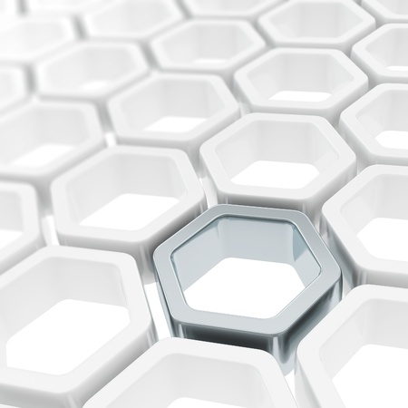 Abstract copyspace background made of metal hexagon element among white ones photo