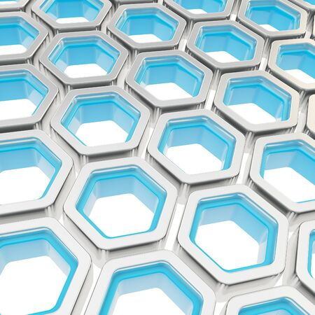 Abstract copyspace background made of chrome metal and blue plastic hexagon elements on white photo