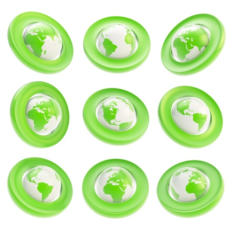 foreshortening: Earth globe green emblem tag in nine foreshortening isolated on white