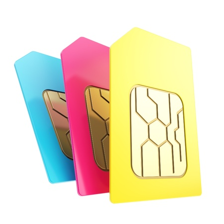 Three phone SIM cards with circuit microchips, group of cyan blue, magenta, yellow isolated on white photo