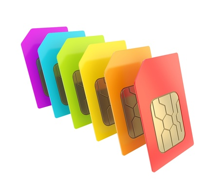 Row of SIM cards with circuit microchips isolated