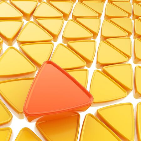 contrasts: Abstract copyspace geometrical background made of glossy orange triangles on white Stock Photo
