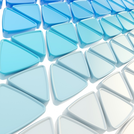 Abstract copyspace geometrical background made of glossy blue triangles on white photo