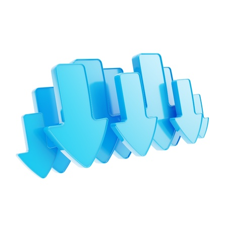 Cloud technology emblem icon tag made of blue glossy arrows isolated on white Stock Photo - 15100567