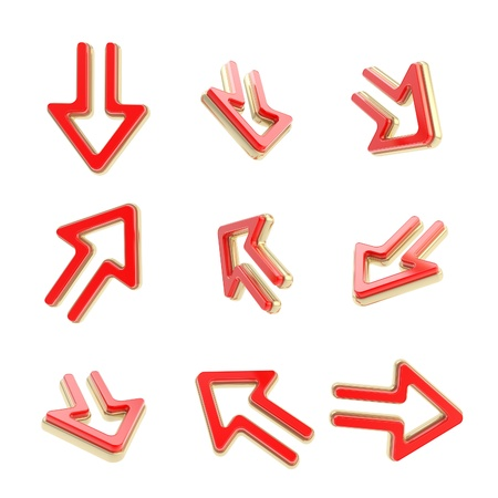 Arrow dimensional icons, colored golden and red, set of nine positions isolated on white Stock Photo