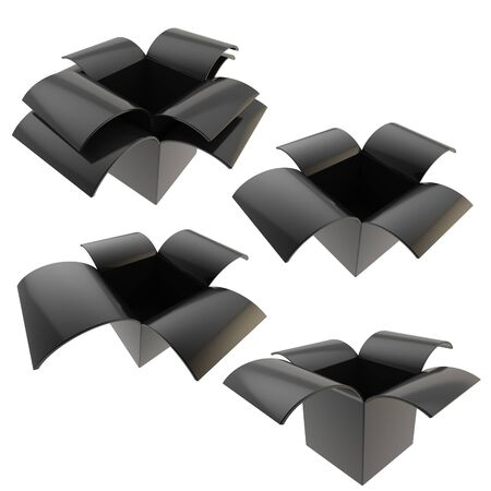Black empty parcel package boxes, set of four, isolated on white photo