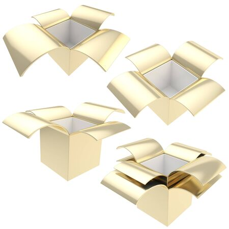 Golden empty parcel package boxes, set of four, isolated on white photo