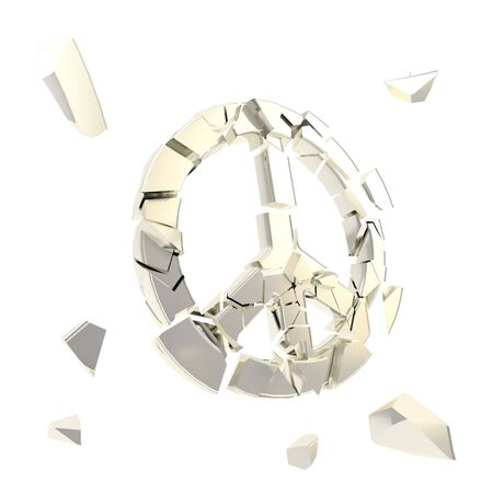 War metaphor as peace symbol collapse as icon broken into tiny silver metal chrome glossy pieces isolated on white Stock Photo - 15114497