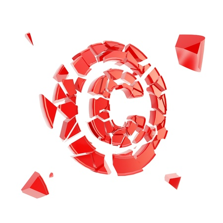breach: Copyright issues as red glossy symbol broken into tiny plastic pieces isolated on white
