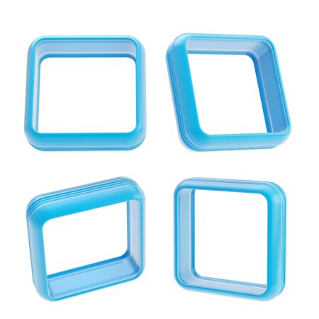 boarders: Abstract application frame copyspace square boarders made of blue glossy plastic, set of four isolated on white Stock Photo