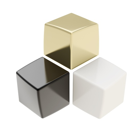 contrasts: Abstract composition of black golden and white cubes with nice reflecions isolated on white