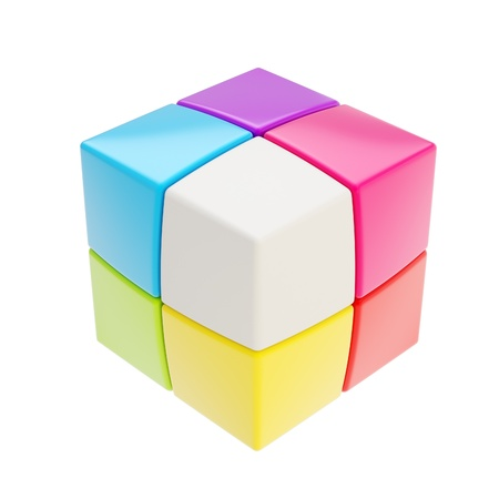 Colorful glossy copyspace cube made of smaller ones isolated on white photo