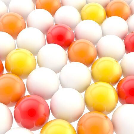 in particular: Abstract background made of red, orange, yellow and white colorful glossy spheres