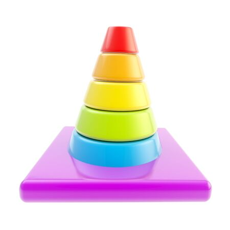 Glossy road cone colored in rainbow gradient isolated photo