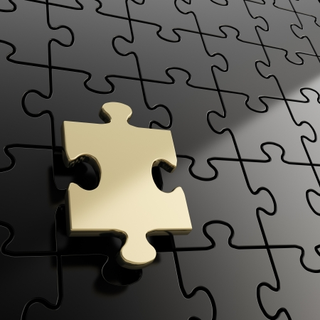 Puzzle jigsaw black background with one shiny golden piece stand out Stock Photo - 15114642