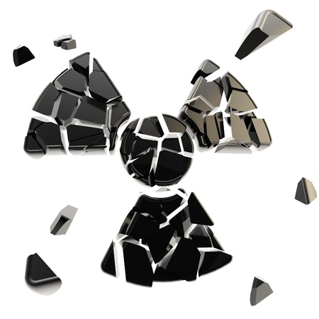 Radiation danger sign broken into black pieces isolated on white Stock Photo - 15114528