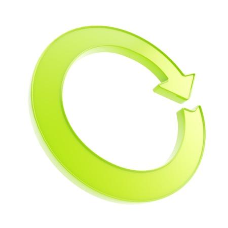 緑の矢印のエンブレムを白で隔離されるラウンド サークルとして光沢のあるアイコンを再利用
