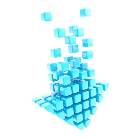torrent: Upload technology arrow icon emblem made of blue glossy cubes isolated on white