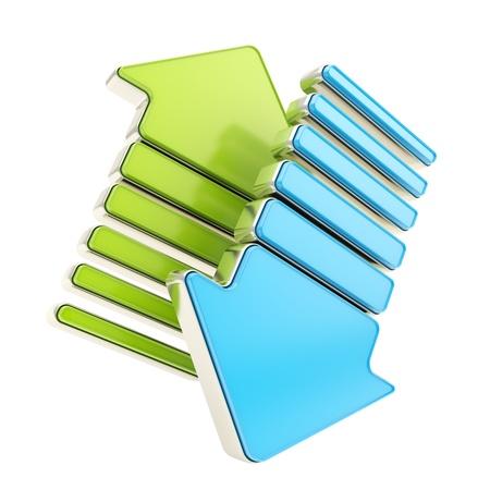上下白で隔離される 2 つの緑、および青の光沢のあるカーソルの矢印作 写真素材
