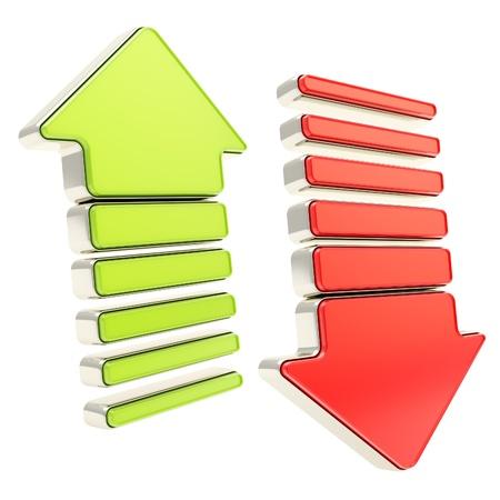 freccia giù: Due frecce con bordi in metallo verde lucido e rosso lucido verso il basso i cursori isolato su bianco Archivio Fotografico