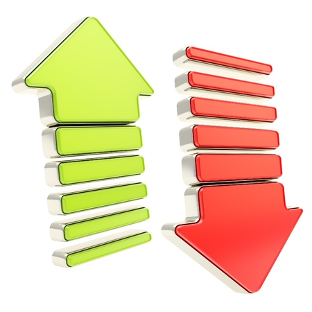 Two arrows with metal edging  glossy green up and shiny red down cursors isolated on white