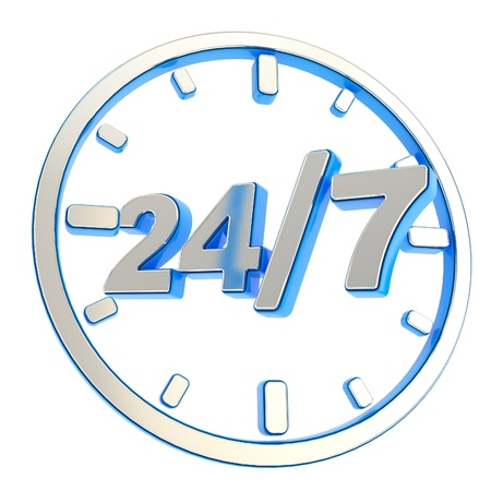 24 7 twenty four hour seven days a week glossy chrome metal and blue plastic round emblem icon isolated on white background photo
