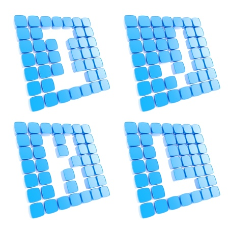 Abc alphabet letter symbol plates made of blue glossy plastic cubes isolated on white photo