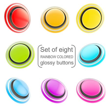 Round copyspace glossy buttons rainbow colored, set of eight isolated on white Stock Photo - 15114573