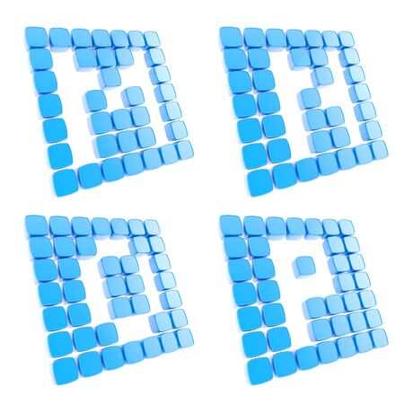 letter p: Abc alphabet letter symbol plates made of blue glossy plastic cubes isolated on white