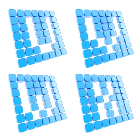 Abc alphabet letter symbol plates made of blue glossy plastic cubes isolated on white Stock Photo - 15114598