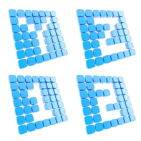 Abc alphabet letter and number symbol plates made of blue glossy plastic cubes isolated on white photo