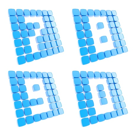Number symbol plates made of blue glossy plastic cubes isolated on white Stock Photo - 15114591