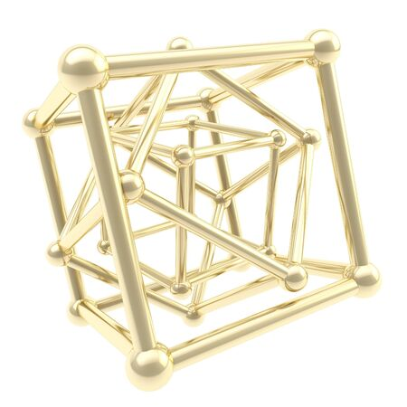 Cube carcass golden framework composition isolated on white as scientific abstract background Stock Photo - 15114597