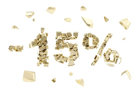 Minus fifteen percent discount emblem composition made of broken into golden pieces metallic symbols isolated photo