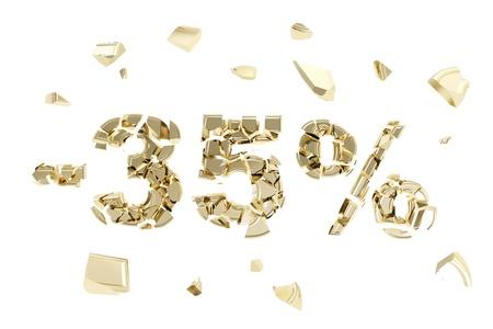 thirty five: Meno 35 per cento di sconto composizione emblema fatta di simboli d'oro spezzato in pezzi metallici isolati