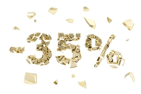 thirty five: Minus thirty five percent discount emblem composition made of broken into golden pieces metallic symbols isolated