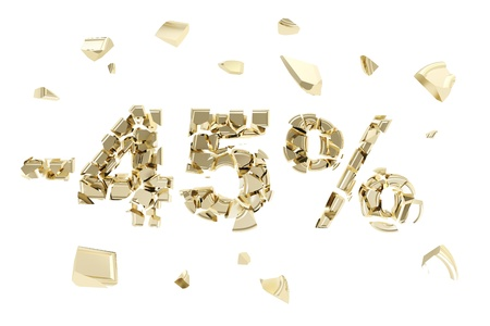 Minus forty five percent discount emblem composition made of broken into golden pieces metallic symbols isolated photo